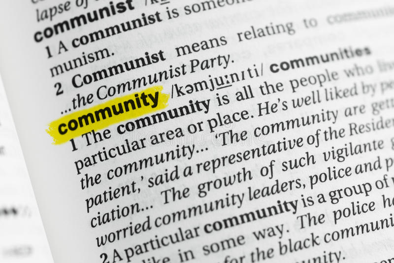 Highlighted English word & x22;community& x22; and its definition at the dictionary.  royalty free stock photography