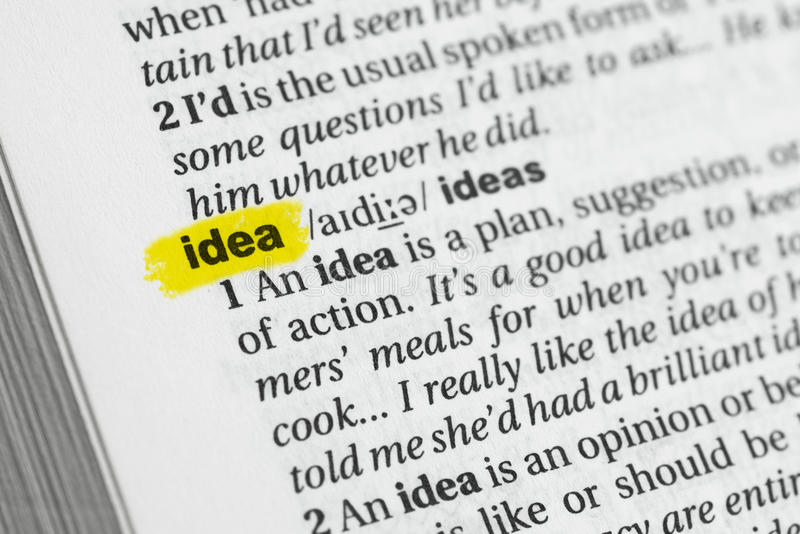 Highlighted English word & x22;idea& x22; and its definition at the dictionary stock photo
