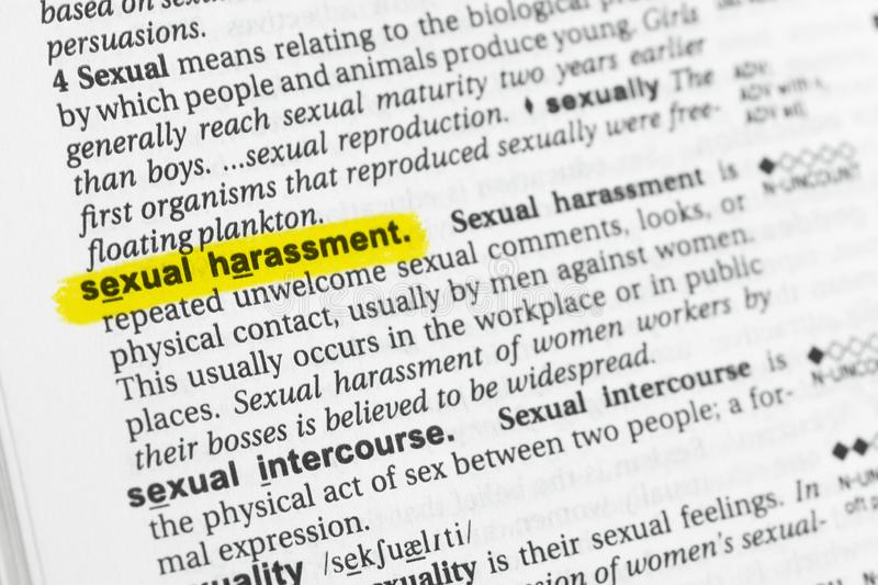 Highlighted English word sexual harassment and its definition at the dictionary. royalty free stock photos