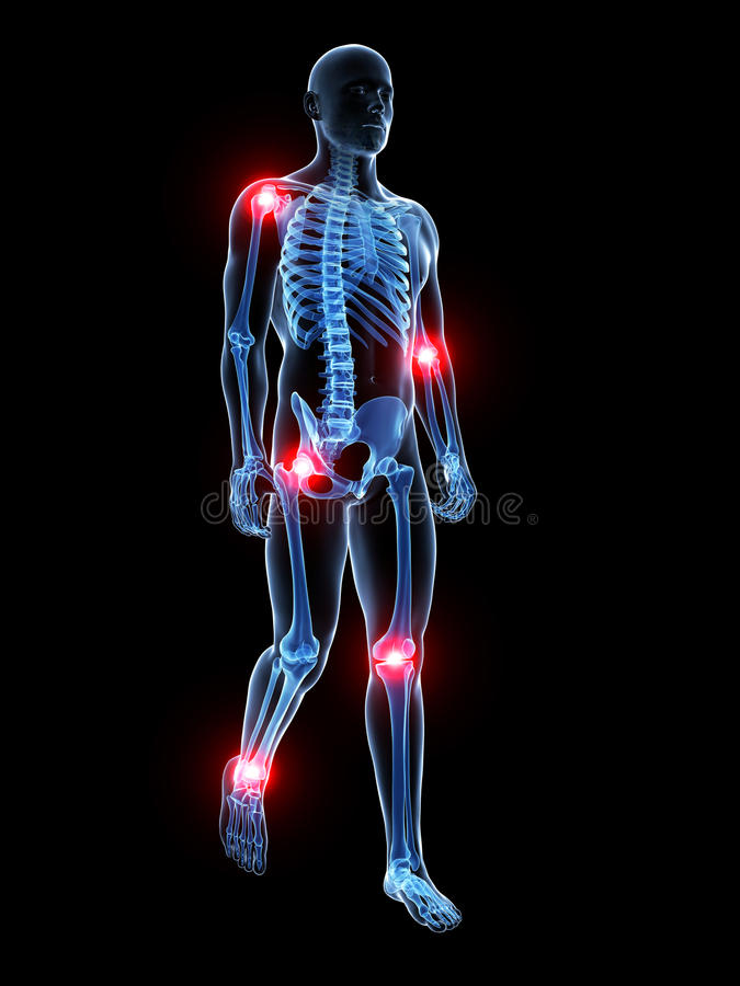 Highlighted joints. 3d rendered medical illustration - painful joints royalty free illustration