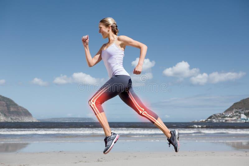 Highlighted leg bones of jogging woman on beach. Digital composite of Highlighted leg bones of jogging woman on beach royalty free stock photo