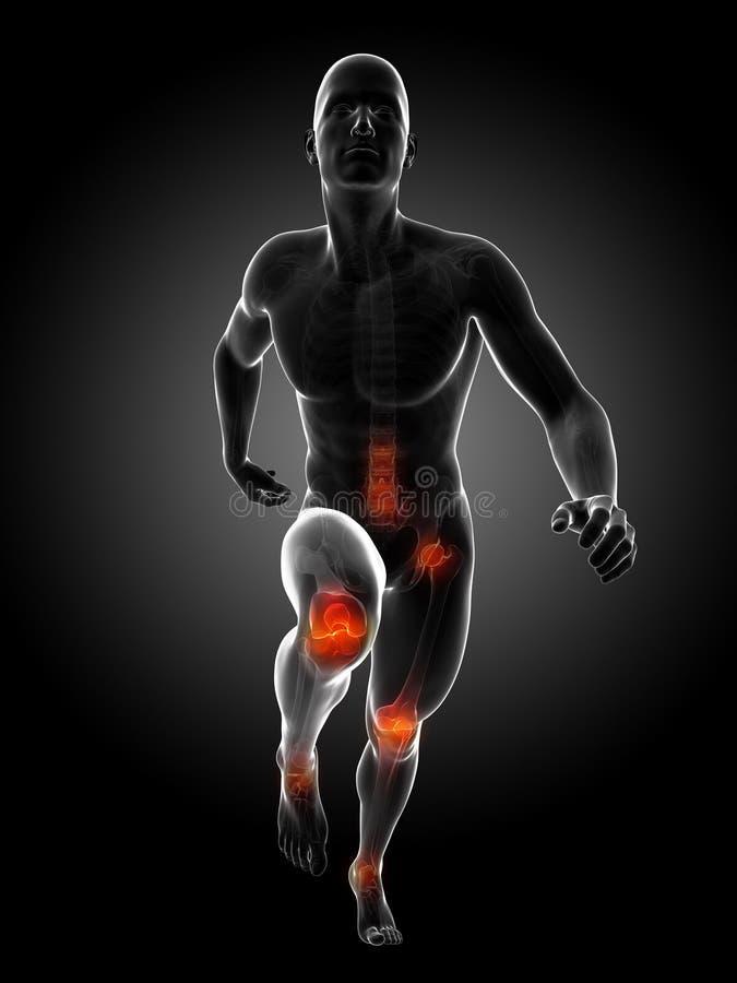 Highlighted runner joints. 3d rendered illustration - runners joints vector illustration