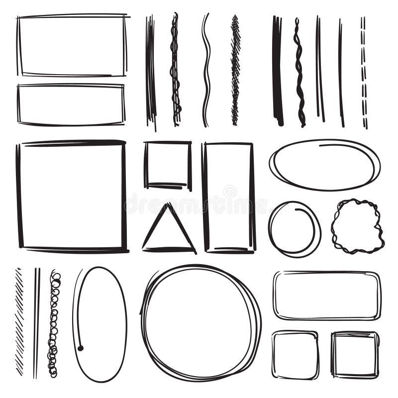 Highlighter, cirklar och understrykningar Vektorillustrationuppsättning av blyertspennafläckar tecknade handbilder vektor illustrationer