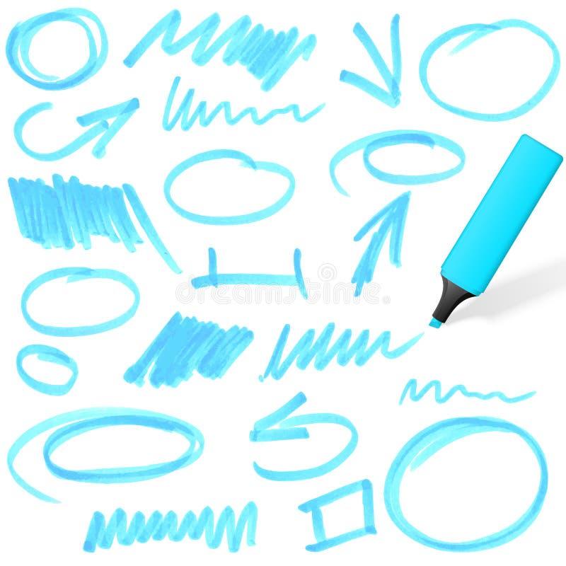 Highlighter colorido com marcações ilustração do vetor