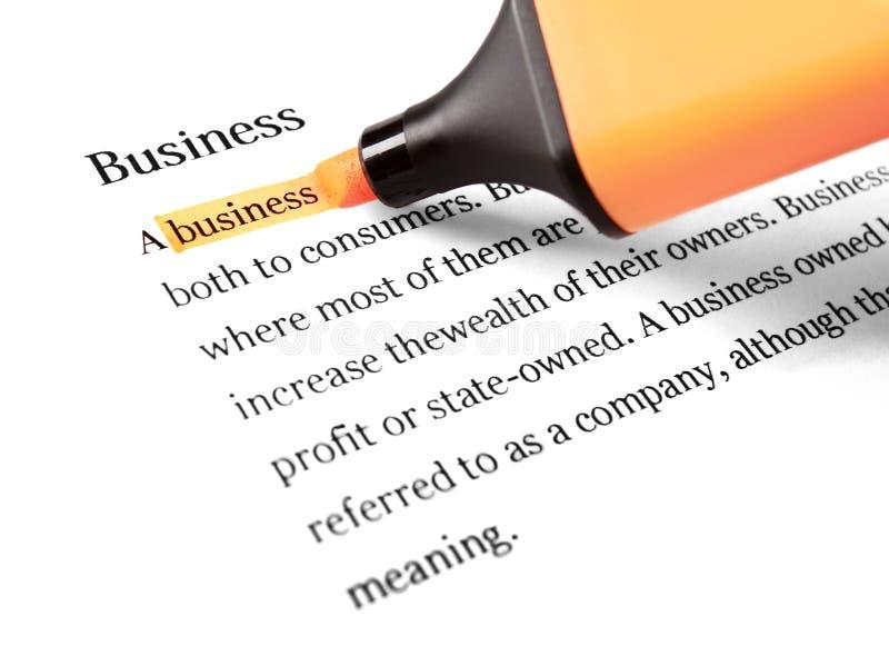 Highlighter e negócio da palavra imagens de stock