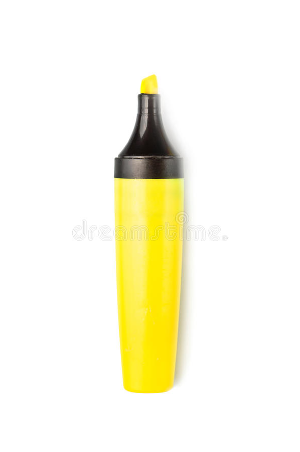 Highlighter giallo isolato sopra bianco fotografia stock