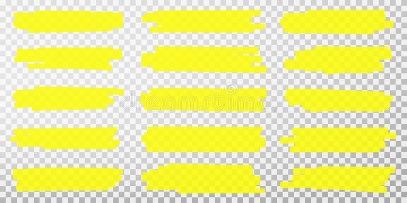Highlighter lines. Hand drawn yellow highlighter marker strokes. Set of transparent fluorescent highlighter markers royalty free illustration