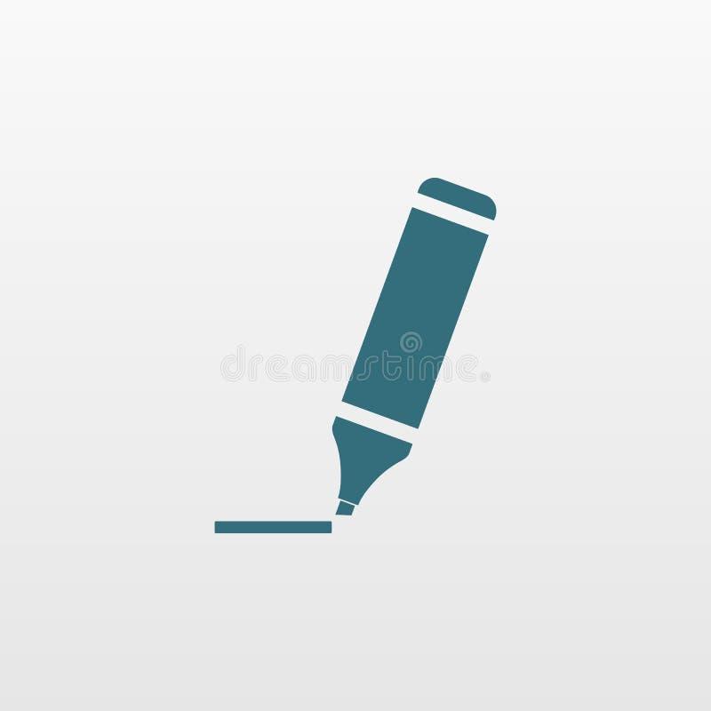 Highlighter markiera ikona Płaski symbol odizolowywający na białym tle Modny interneta pojęcie Nowożytny h ilustracja wektor