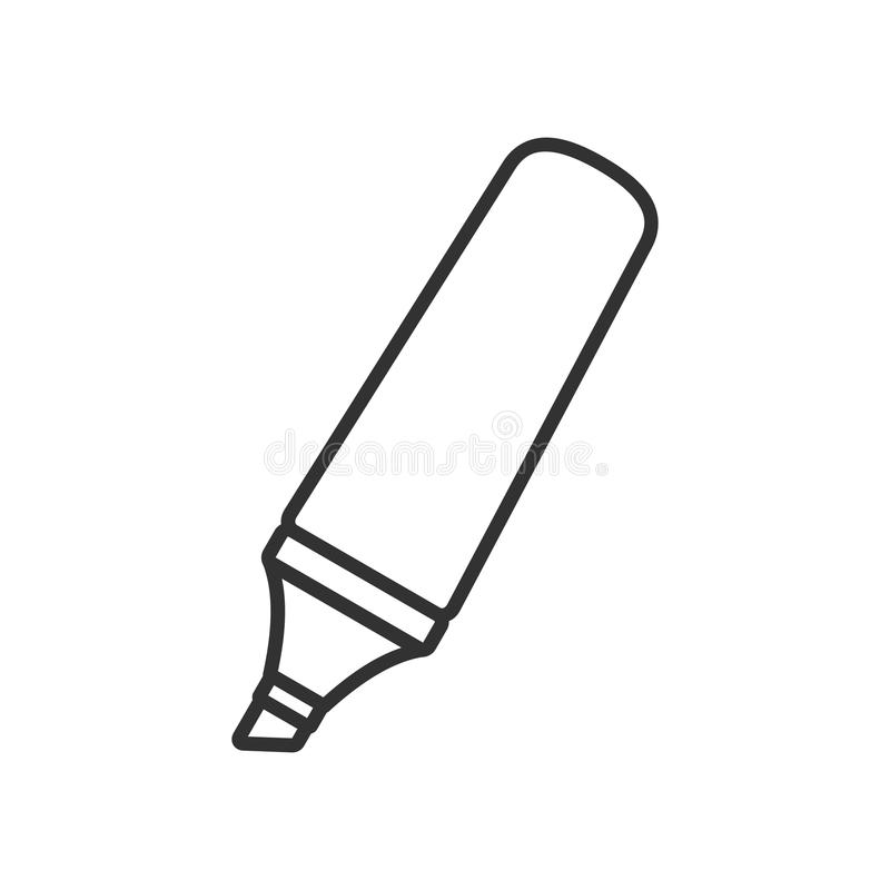 Highlighter Pen Outline Flat Icon on White. Highlighter or highlighting pen outline flat icon, isolated on white background. Eps file available royalty free illustration