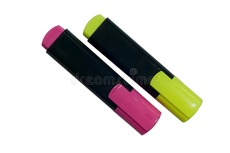 Highlighter pen in two colors yellow and purple stock image