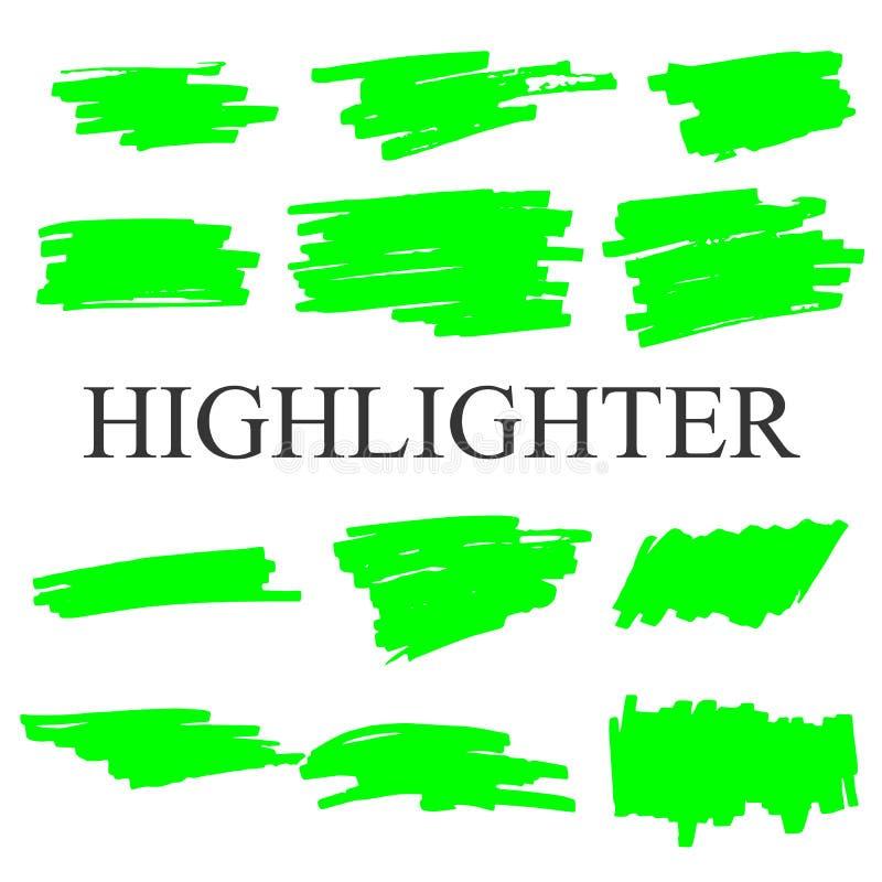 Highlighter strokes isolated on white background vector set. stock illustration