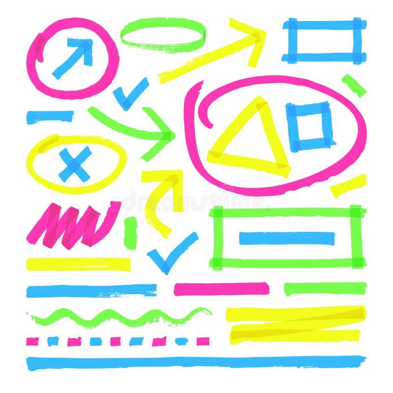 Highlighter vectortekens De strepen, de slagen en de pijlen van de kleurenteller stock illustratie