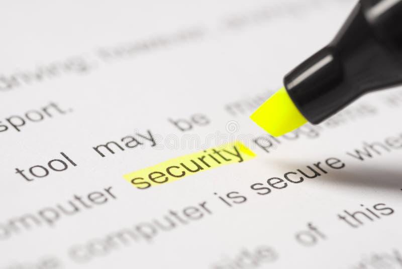 Highlighter y seguridad de la palabra imágenes de archivo libres de regalías