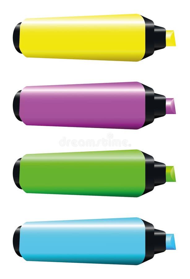 Highlighter Yellow Pink Green Blue vector illustration