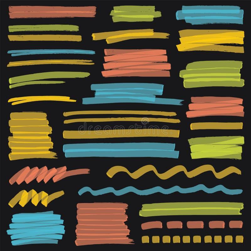 Highlighterfärg gör randig, slaglängder och markeringsdesignbeståndsdelar royaltyfri illustrationer