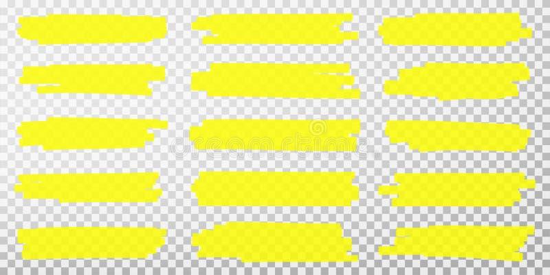 Highlighterlijnen De hand getrokken gele slagen van de highlighterteller Reeks transparante fluorescente highlightertellers royalty-vrije illustratie
