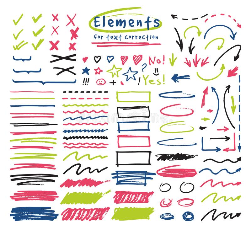 Highlightermarkörer som markerar med handen som drar beståndsdelar för att välja och markera textillustrationen, ställde in av ma vektor illustrationer