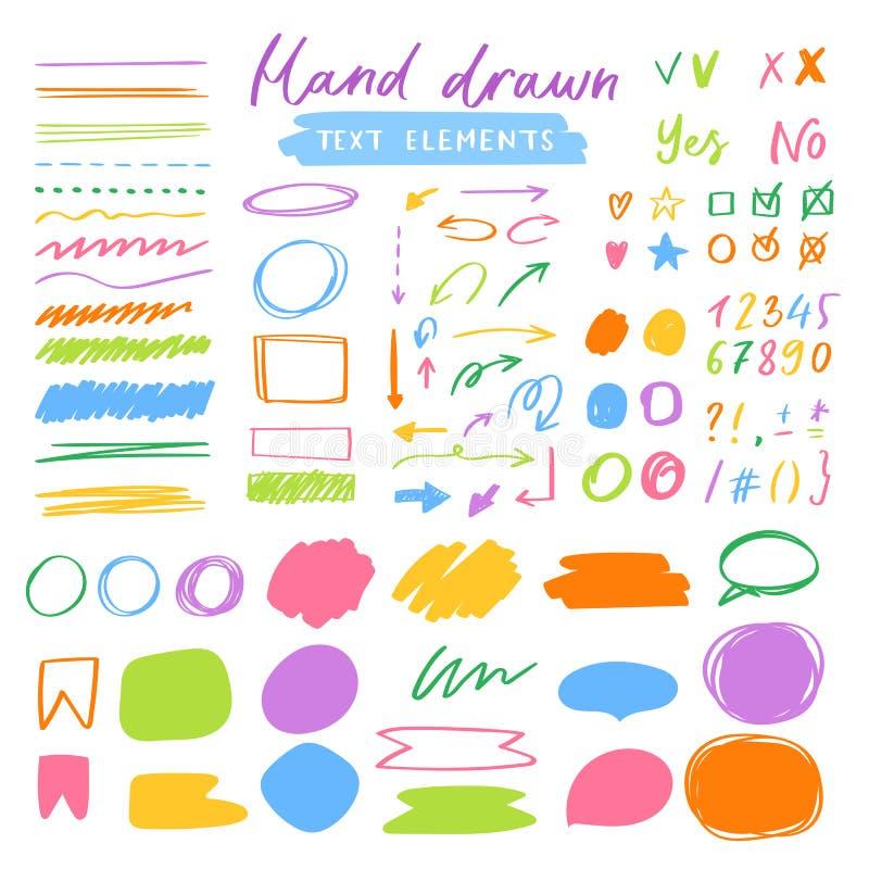 Highlightermarkörvektor som markerar med handteckningsbeståndsdelar eller nummer för att välja och markera textillustrationen stock illustrationer