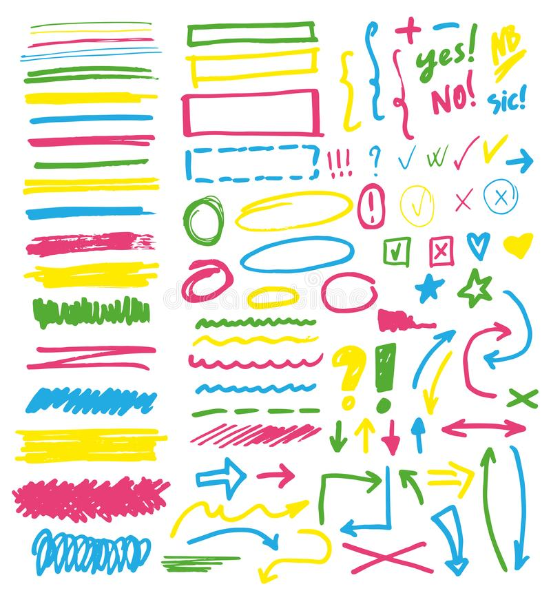 Highlightermarkörvektor som markerar med handteckningsbeståndsdelar eller nummer för att välja och markera textillustrationen royaltyfri illustrationer