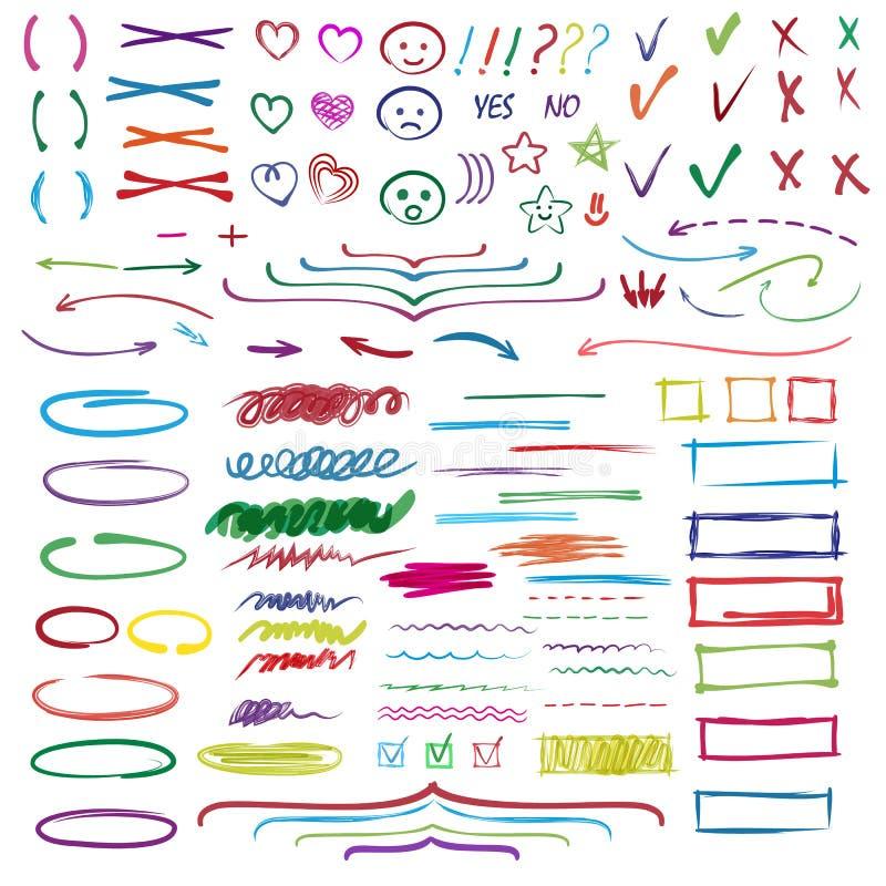 Highlightermarkörvektor som markerar med handteckningsbeståndsdelar eller nummer för att välja och markera textillustrationen vektor illustrationer