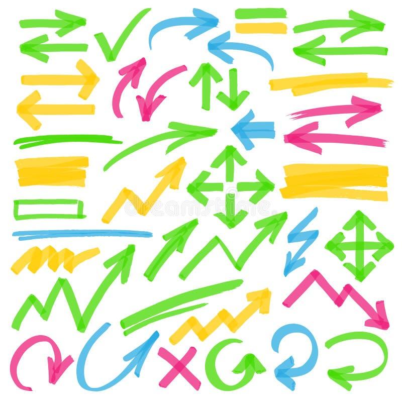 Highlighterpilar och markeringsdesignbeståndsdelar vektor illustrationer