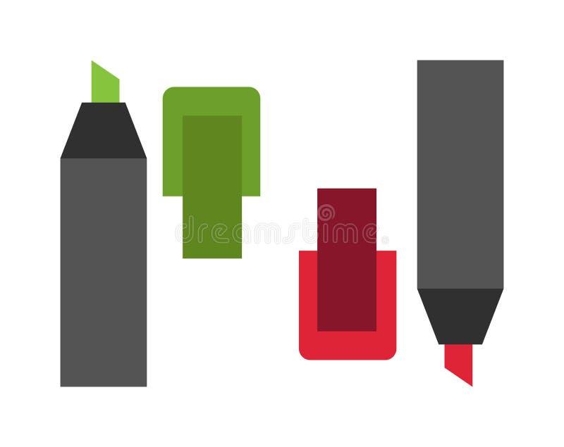 Highlighters coloreados del marcador ilustración del vector