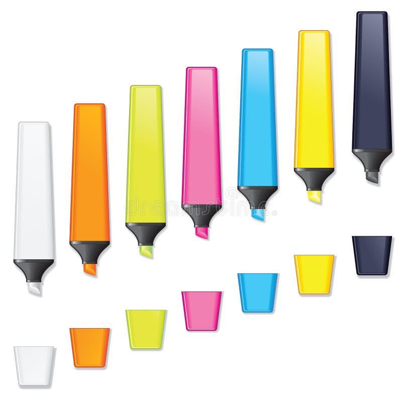 Highlighters. Marcador coloreado Pen Vector ilustración del vector