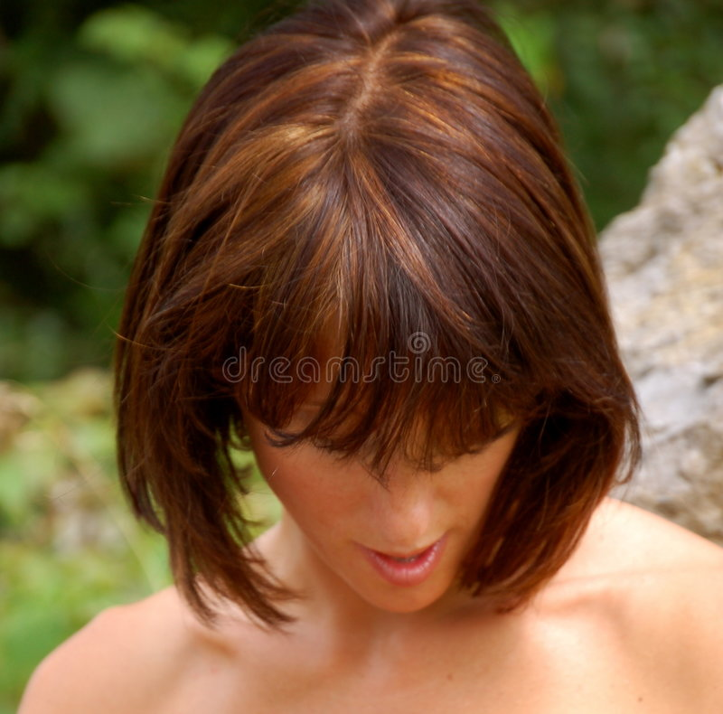 Highlights. Woman's haircut, brunette with golden and honey highlights royalty free stock photos