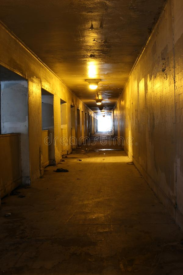 Inside of a tunnel with lights royalty free stock photos
