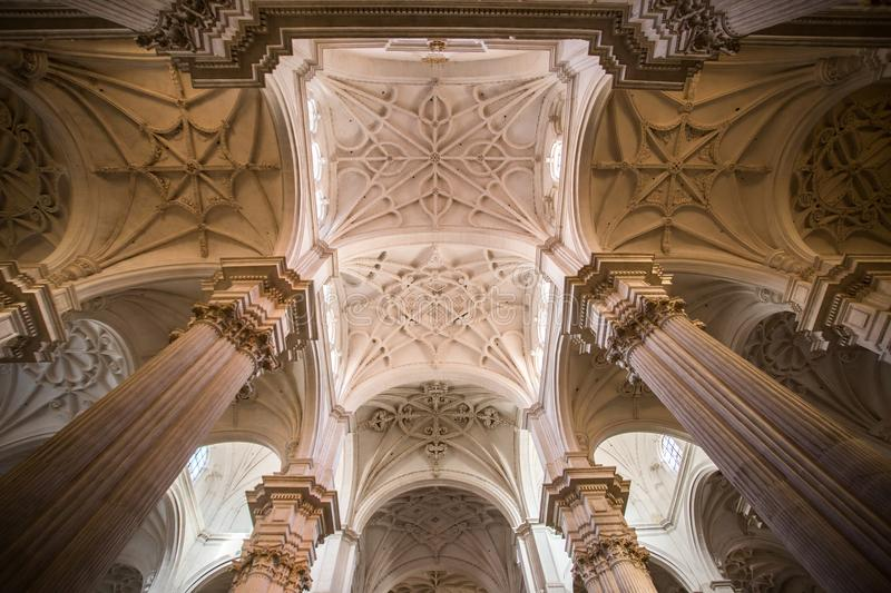 Highly decorated ceiling of catedral de granada stock photo