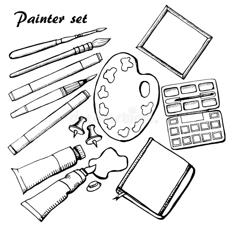 Highly detailed artists supplies icons set. Illustration handmade stock illustration