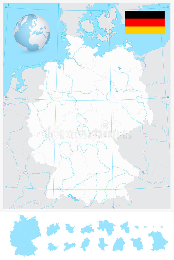 Highly Detailed Blank Outline Map Of Germany With Rivers Stock - Germany map of rivers