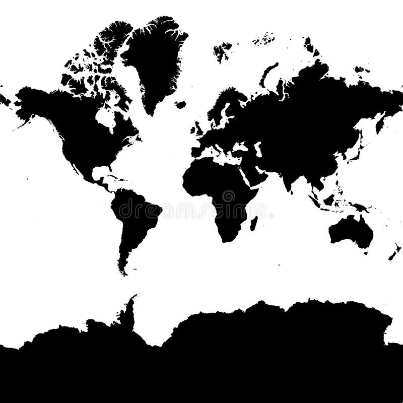Highly Detailed Continent Silhouette World map. EPS 10 vector royalty free illustration