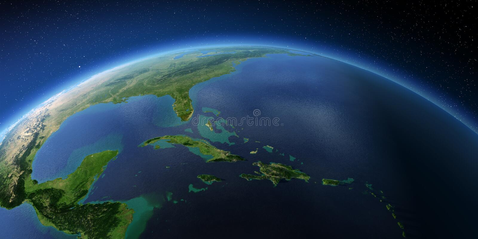 Highly detailed Earth. Caribbean Sea and the Gulf of Mexico. Highly detailed planet Earth with exaggerated relief illuminated by the evening sun. Caribbean Sea royalty free illustration