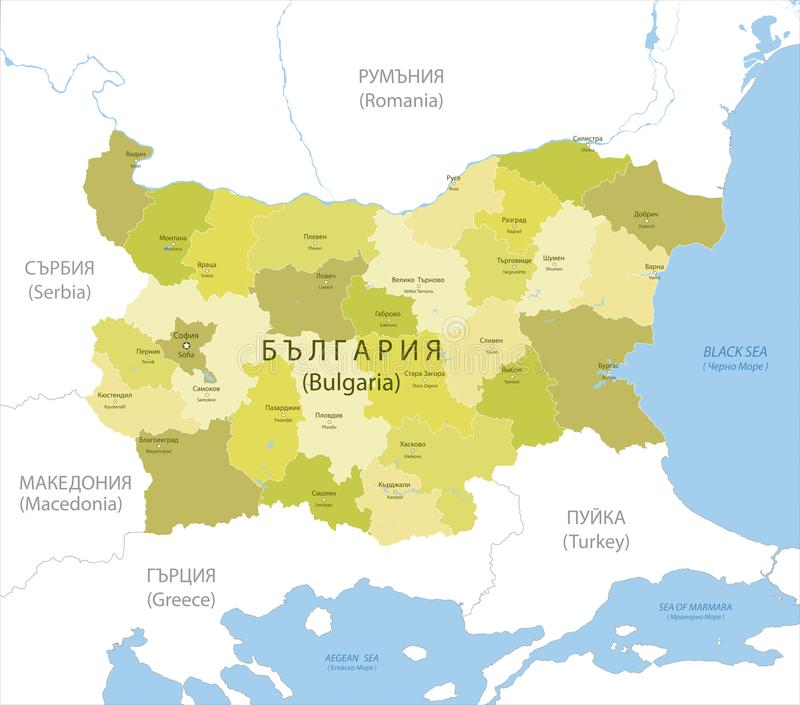 Highly detailed map of Bulgaria, vector. stock photos