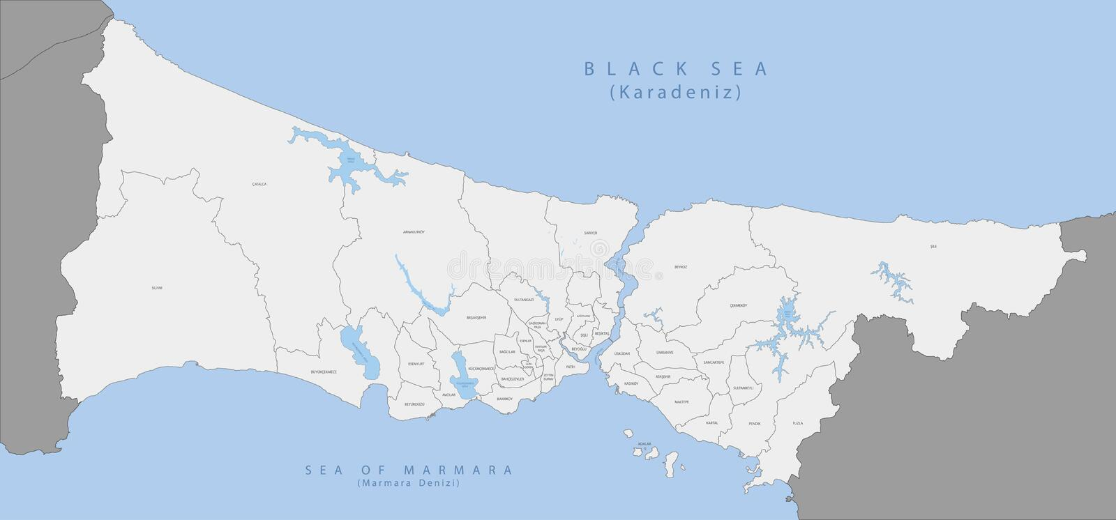 Highly detailed map of Istanbul . Highly detailed map of Istanbul, EPS 10 vector illustration
