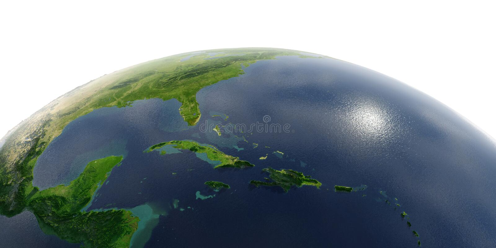 Detailed Earth on white background. Caribbean Sea and the Gulf of Mexico. Highly detailed planet Earth with exaggerated relief and transparent oceans illuminated stock illustration