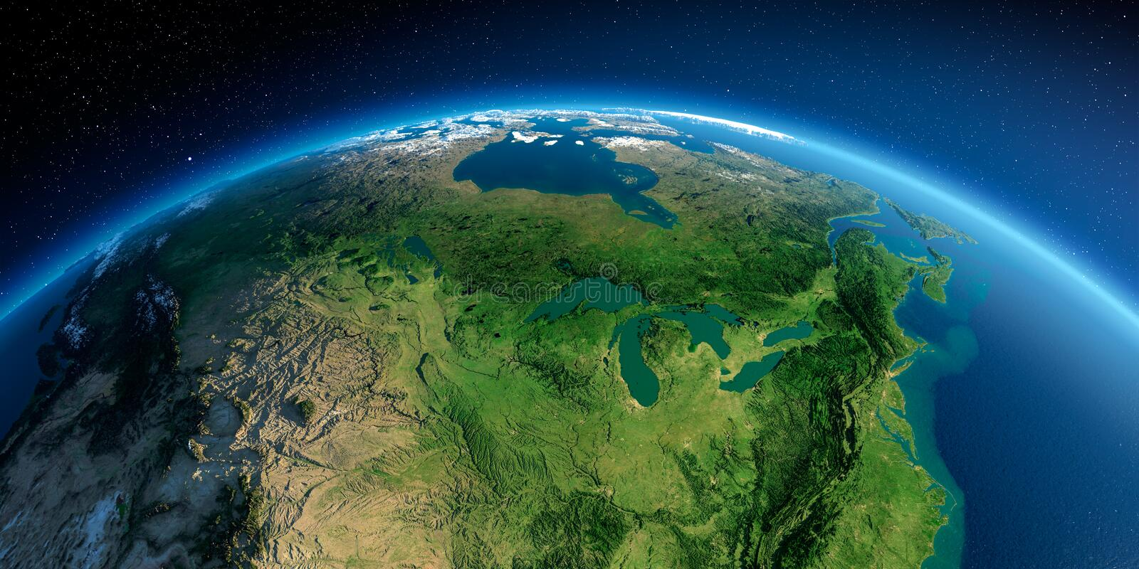 Detailed Earth. United States and Canada. Great Lakes. Highly detailed planet Earth in the morning. Exaggerated precise relief lit morning sun. Detailed Earth vector illustration