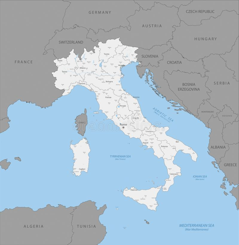Highly Detailed Political Map Of Italy Stock Illustration