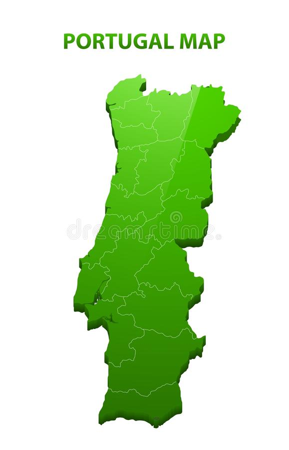 Highly detailed three dimensional map of Portugal with regions border.  stock illustration