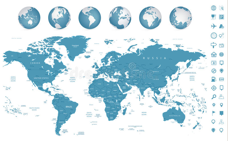 Highly detailed World Map and navigation icons royalty free illustration