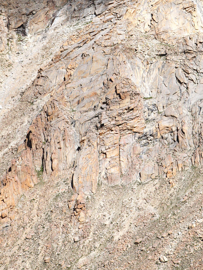 Highly fractured and brittle rocks in Ladakh. Granite rocks exposed in beautiful mountains of ladakh royalty free stock photography