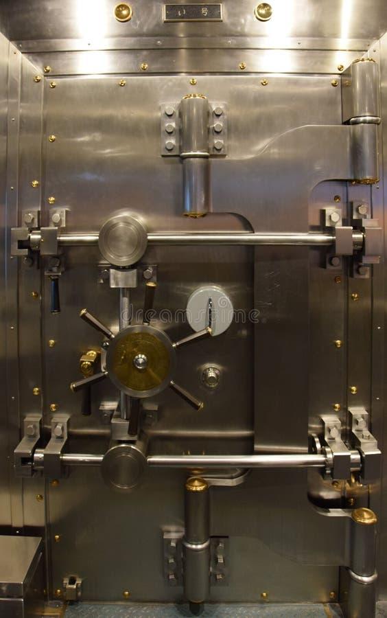 Highly polished bank vault in Otaru Japan. Polished metal bank vault in Otaru Japan.  High security stock photo