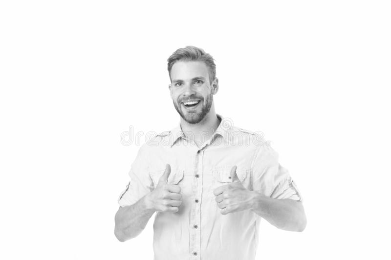 Highly recommend. Guy shows thumbs up gesture. Man confidently highly recommend white background. Guy with bristle. Recommend excellent item. Man shop stock photo