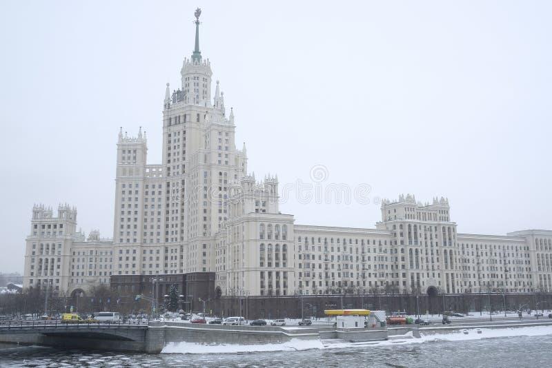 Highrise budynek na Kotelnicheskaya bulwarze w Moskwa, Rosja zdjęcia royalty free