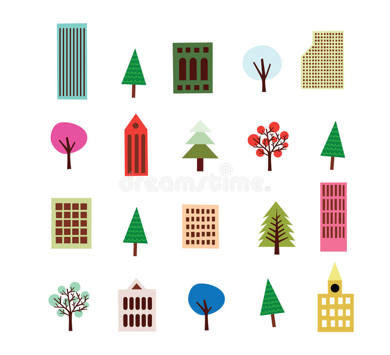 Highrise Building And Tree Set royalty free illustration