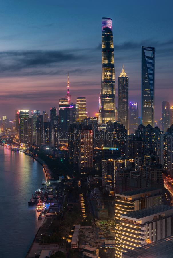 Free Highrise Buildings Along The Riverside In Shanghai Stock Photos - 112975143