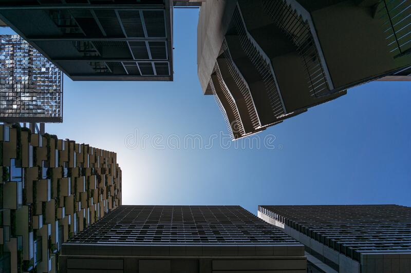 Highrise buildings with blue sky on the background royalty free stock photo