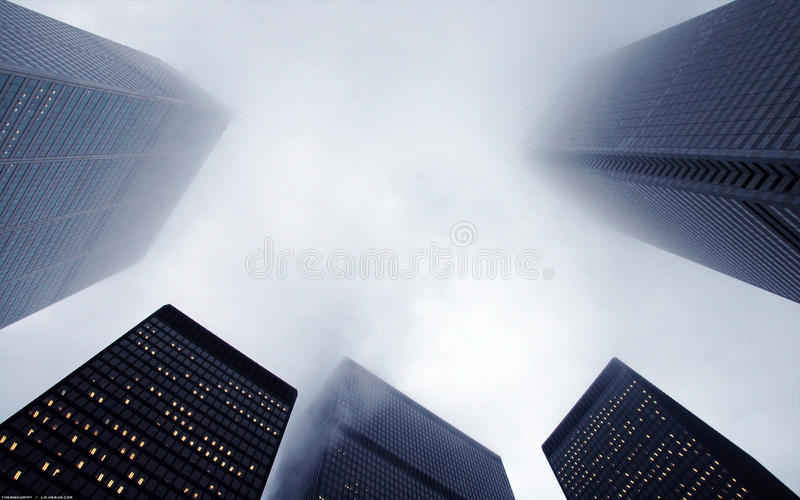 Highrise buildings in fog