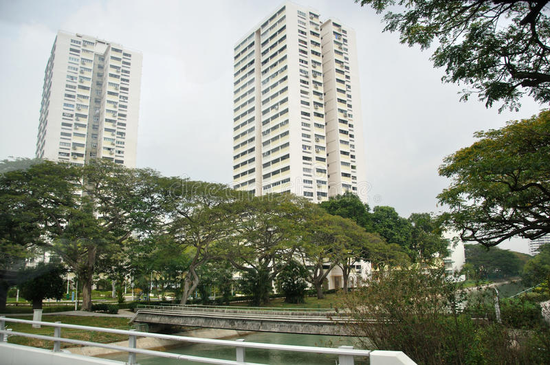 Highrise buildings. Modern highrise buildings in Singapore royalty free stock photos